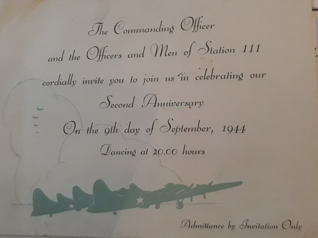 369 Squadron dance invitation (front)